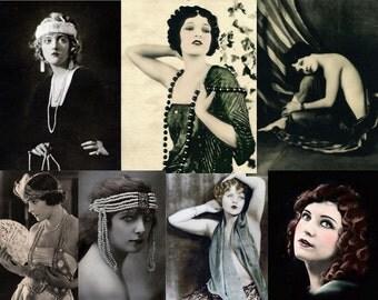 Vintage Flappers ,7 vintage photographs, instand download