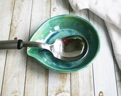 Spoon Rest in Shimmering Green Glaze Pottery Dish Handmade Kitchen Drip Dish Ready to Ship Made in USA