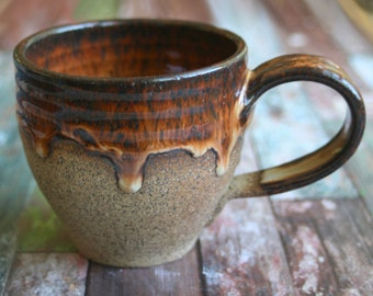Rustic Coffee Cup Handmade Mug in Brown Dripping Glaze and Raw Speckled Stoneware Ready to Ship Made in USA