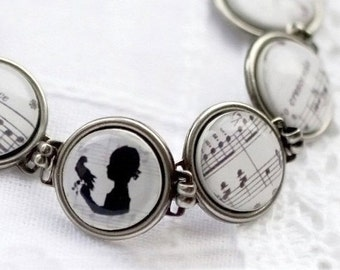Silhouette bracelet - Music jewelry - Link bracelet - Black And White Bracelet - Shabby chic wedding jewelry (BT005)