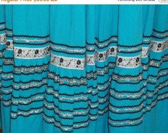 Spooktacular SALE Vintage Turquoise Blue Gauze Mexican Fiesta Skirt Medium Full Circle