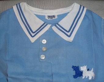 Vintage Mason Line Baby Infant Boy Scottie Scotty Dog Puppy Outfit Romper