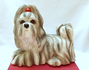 Universal Statuary dog, Shih Tzu, 1984, large dog figure, home decor, door stop, collectible, number 870