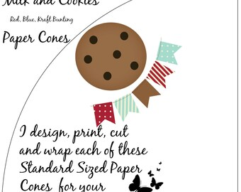 Milk and Cookies Red Blue Kraft Bunting White Paper Cones - Standard Size (16-count) NEW