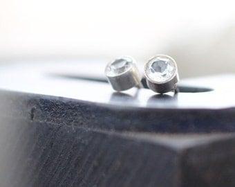 White Topaz Earrings- Free Shipping