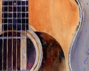 Martin Guitar 00028H - Watercolor Art Print - Size  8.5 x 11 or 12 x 18