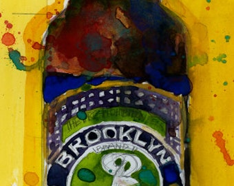 Brooklyn Brewery - Brooklyn Lager   Beer Art  Print from Original Watercolor  Giclee or Archival Man Cave Bar