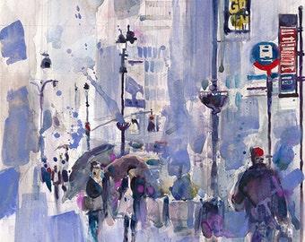 Print form Original Watercolor  - Rainy Day New York City  34 STREET New York City  or 8.5 x 11 Print