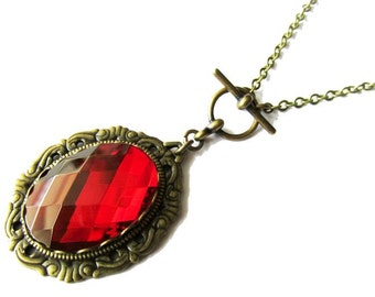 Romantic Vintage Inspired Ruby Red Mirror Glass Jewel Pendant Necklace | Antique Brass Chain | Jewellery Gifts for Women | Valentines