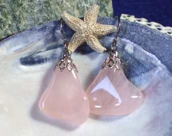 Rose Quartz Dangle Earings Earrings Titanium Ear Wires Hypo Allergenic Handmade in Newfoundland Pink