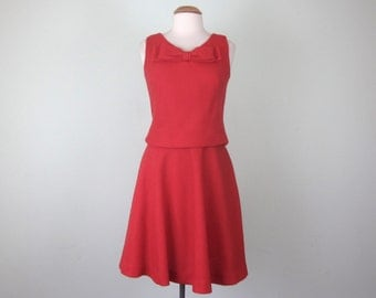 60s cherry red holiday party formal cocktail dress (s - m)