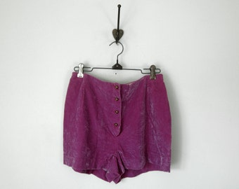 60s pink velvet high waist hot pants short shorts 28 (s - m)