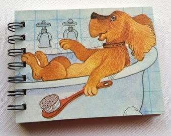 Bathing Dog, Recycled Mini Notebook