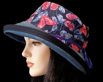 Sunblocker - Full brim sun hat denim with blue and pink butterfly  theme and with adjustable fit