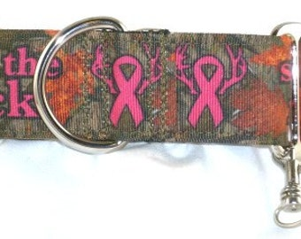 1.5 inch camouflage greyhound martingale dog collar, deer, pink ribbon, breast cancer awareness, collar with tag keeper--Camo-Save the Rack
