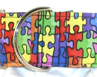 2 inch greyhound martingale dog collar, Autism Awareness, support, colorful, rainbow, jigsaw--Puzzle Pieces