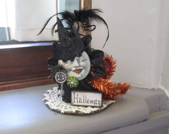 Halloween Moon Face - Halloween Moon Decor - Whimsical Halloween