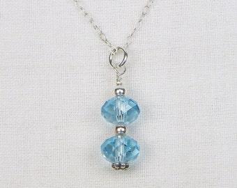 Swarovski Crystal Sterling Silver Necklace - Swarovski Rondelles - Blue Swarovski Crystals - Gift For Her