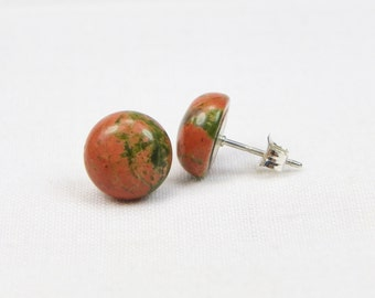 Unakite Sterling Silver Earrings - 10MM - Stud - Genuine Gemstone - Cabochon Earrings - Gift
