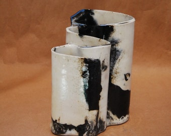 Toothbrush Holder, Black And White Handmade Pottery, Makeup Brush Holder, Pencil Holder, Bathroom Decor, Office Accessory, Stoneware, Unique