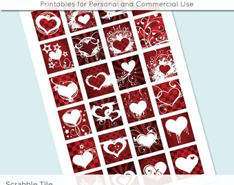 Valentines Red Heart Collage Sheet Digital Scrabble Tile Images .75x.83 on 4x6 and 8.5x11 Download Sheets for Glass Resin Pendants