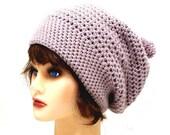 Crochet Slouch Beanie w/Pom Pom