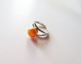 Sunflower pearl ring. Yellow pearl ring. Sunflower yellow pearl. Small pearl ring. Freshwater pearl ring. Orange pearl ring.