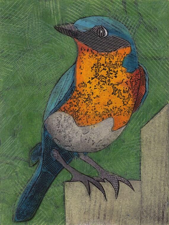 Eastern Bluebird 11 (Original Collograph of Royal Blue and Rust Bird)