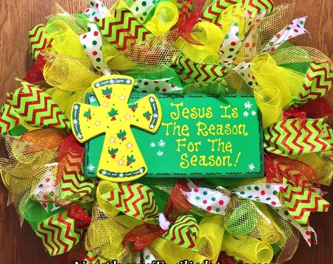 SALE- Jesus is the Reason for the Season - Christmas Welcome Door Wreath!