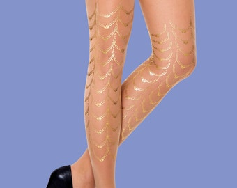 Gold tattoo, Cabaret tights available in S-M, L-XL