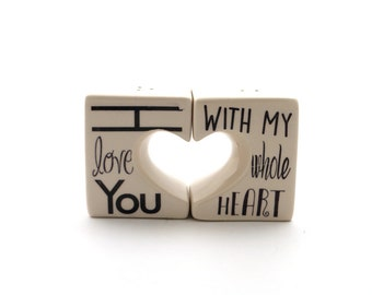 I love you heart shaped salt and pepper shakers, ceramic, gift for cook - bridal shower gift