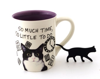 Tuxedo cat mug, so much time, gift for cat lover, crazy cat lady, features Lenny the cat, 16 oz stoneware mug purple inside