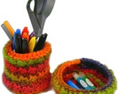 Desk Accessory Set, Pen Holder, Pencil Cup, crochet bowl, home office decor, trinket bowl, storage container, cubicle accessory