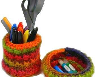 Desk Accessory Set, Pen Holder, Pencil Cup, crochet bowl, home office decor, trinket bowl, storage container, cubicle accessory