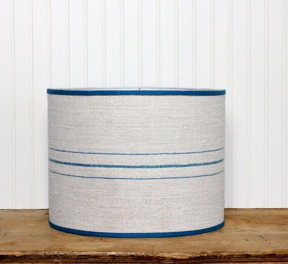 stripe grain sack lamp shade drum shade aquamarine teal. Black Bedroom Furniture Sets. Home Design Ideas