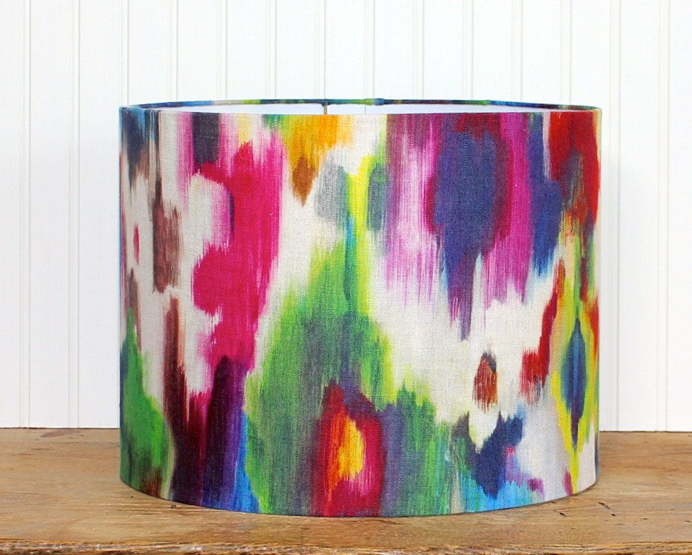 ikat drum shade lamp shade colorful lampshade linen drum