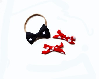 Mickey themed Hand-tied Simple Fabric Bow Nylon Elastic or Alligator Clip