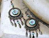 Long  Bohemian Chandelier Earrings - Turquoise Blue, Pink, Antique Brass, Czech Glass