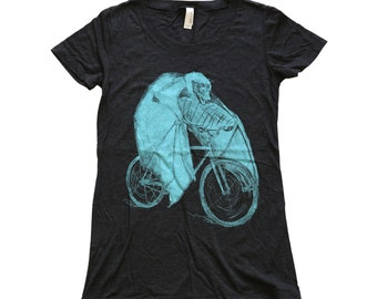 Ladies - Bat on a Bicycle - T Shirt  Womens SIZE S M L Xl