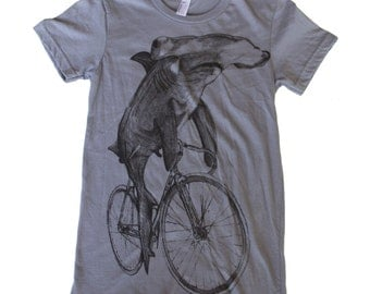 Hammerhead on a Bicycle- Womens T Shirt, Ladies Tee, Cotton Tee, Handmade graphic tee, sizes s-xL