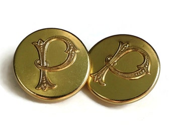 Monogram P Buttons - 2 Gold Metal 7/8 inch 23 mm