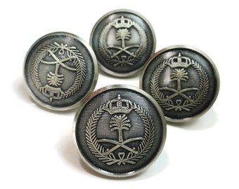 Saudi Arabia Military Vintage Buttons - Your Choice of Sizes for Blazer Front or Sleeves 7/8 inch 5/8 inch High Quality