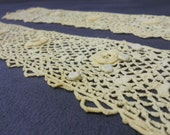 Pair of Vintage Lace Crochet Cuffs with Tiny Buttons