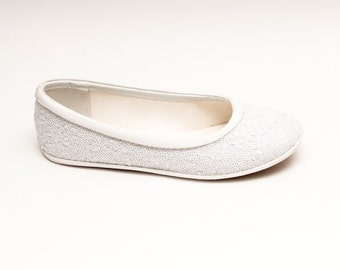 Tiny Sequin | Starlight Bridal White Ballet Flats Casual Slippers Shoes