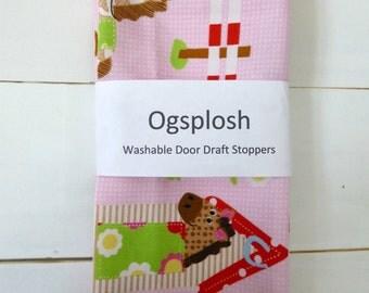 Door Draft Stopper, Door Snake, Pink Equestrian Print, 199.