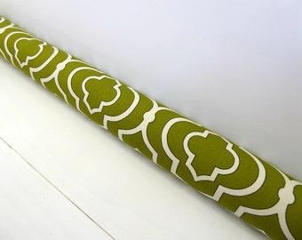 Green Door Snake - Draft Stopper - Modern Home Decor - Traditional Draft Stopper - Green Lattice Door Snake. 108