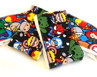 Baby Burp Cloths - Superhero- Set of 4 - Green Blue Red Gray