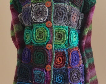 Handmade Japanese Noro yarn Cardigan Colourful Volumetric Spiral Motif cardigan/Plus size Coat/Knit cardigan/Knit Wool cardigan