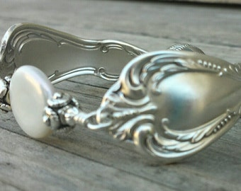 Gorgeous Antique Spoon Bracelet With Pearl