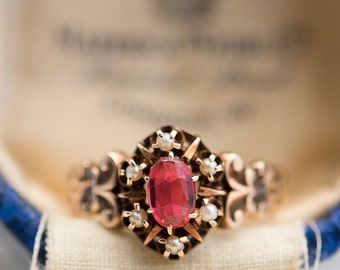 Victorian 14K Gold Ruby & Seed Pearl Ring